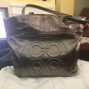 Coach metallic silver/pewter large tote